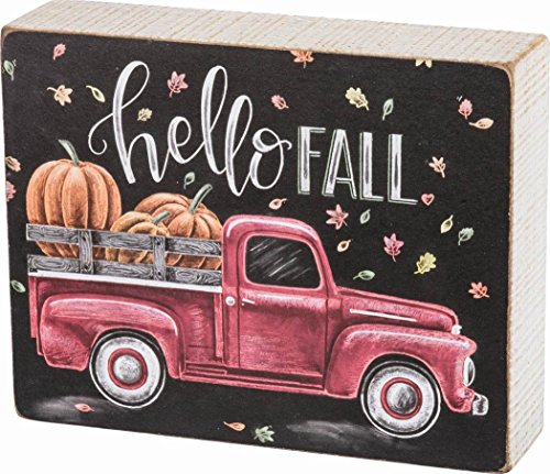 Primitives by Kathy Chalk Art Box Sign, Hello Fall -