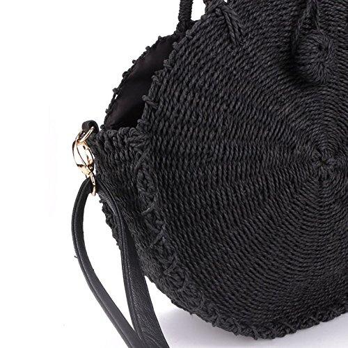 Women Straw Circle Bag Messenger Handmade Rattan Woven Bali Round Summer Women Bag SODIAL Beach Bags Beige Shoulder Handbags Black d8qnpf