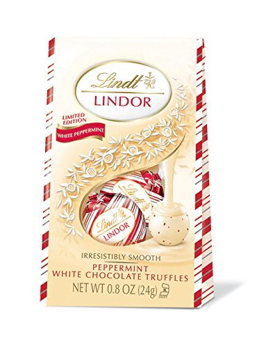 Lindt LINDOR Holiday Peppermint White Chocolate Truffles Mini Gift Bag, Kosher, 0.8 Ounce (Pack of 24)