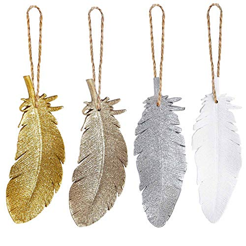 Feather Christmas Tree Ornaments 2018 Rustic Hanging Ornament Country Wall Decor Gold Silver White Champagne, Set of 4 (6'')