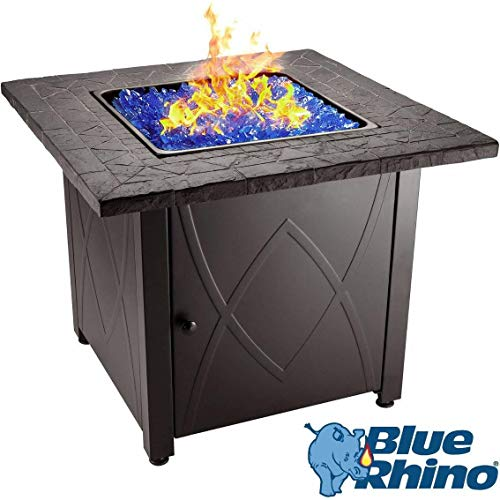 Round Rock Fire Pit - Blue Rhino Outdoor Propane Gas Fire Pit (Blue Fireglass)