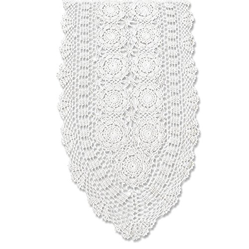 KEPSWET Cotton Handmade Crochet Lace Oval Table Runner White 14x36 inch