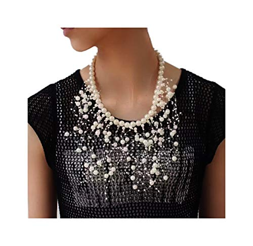 (Pearl Choker Statement Necklaces (Pearl Cluster Tassel))
