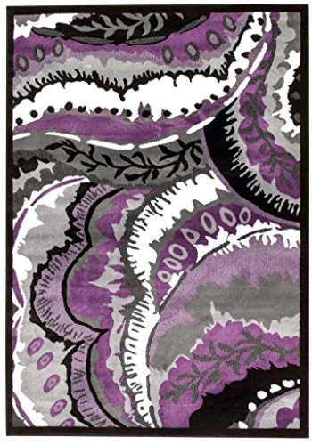 Amazon.com: 01804 Purple Gray Black White 5u00272x7u00272 Modern Area Rug  Contemporary Carpet Large