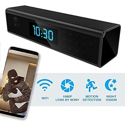 Hidden Spy Camera - Wireless Home Security Camera Alarm Clock - Best Spy Cam Wifi 1080p - Security Spy Camera With Motion Detector - Nanny Spy Camera For Women Men Black with Night Vision