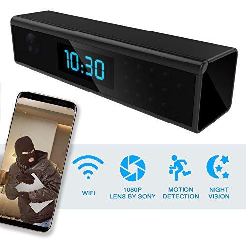 zend Hidden Spy Camera – Wireless Home Security Camera Alarm Clock – Best Spy Cam Wifi 1080p – Security Spy Camera With Motion Detector – Nanny Spy Camera For Women Men Black with Night Vision