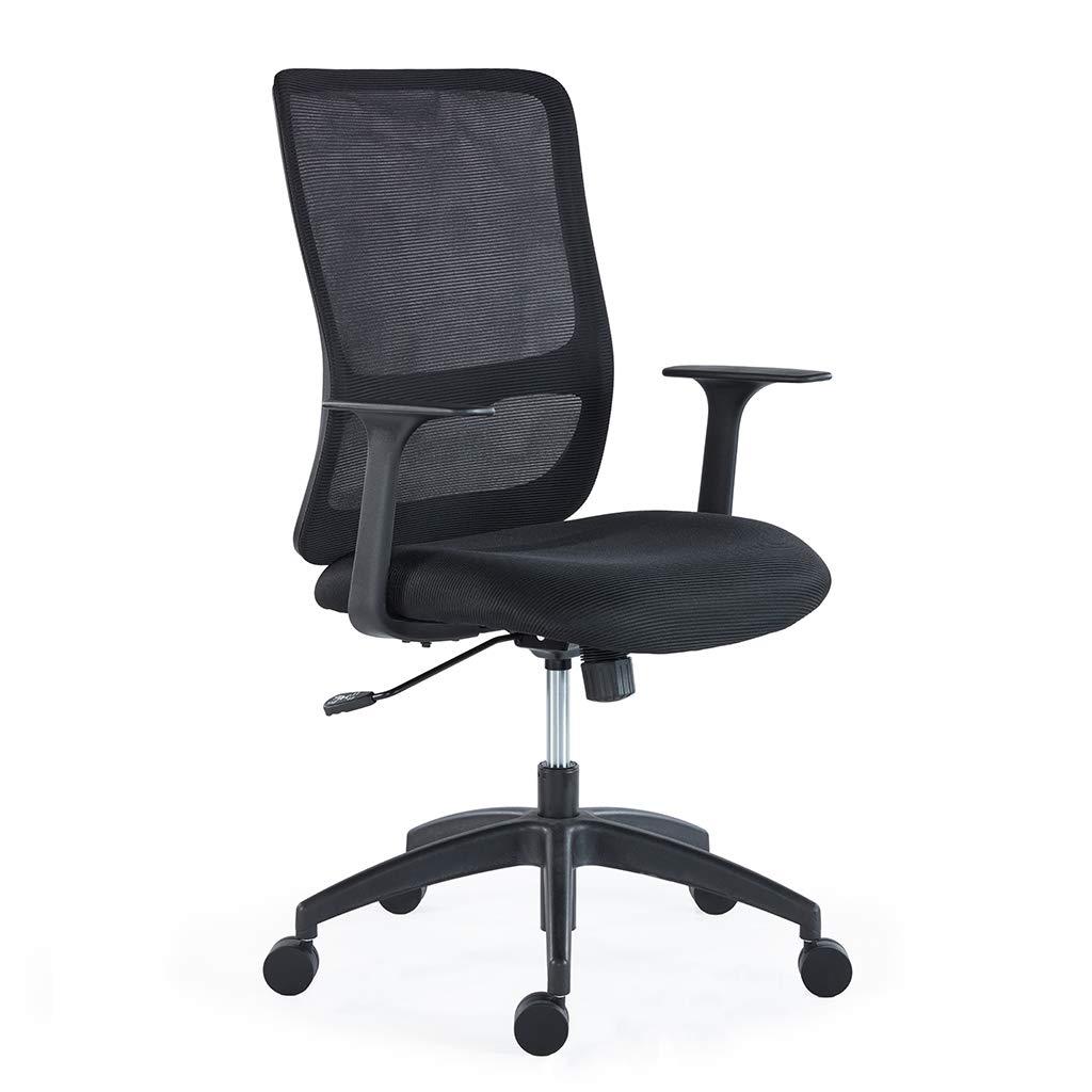 Sunon Ergonomic Mid-Back Mesh Office Desk Chairs Height Adjustable Swivel Task Chair (Black Back & Black Seat) by Sunon