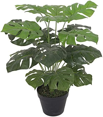 Leaf Artificial Monstera Plant 60cm Black Pot