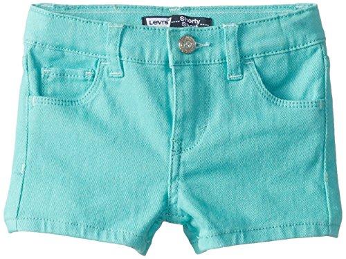 Levi's Little Girls' Summer Love Glitter Shorty Short, South Bay Blue Glitter, 2T