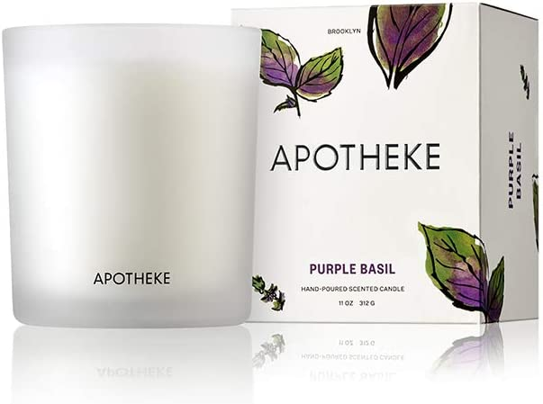 APOTHEKE Market Collection - Purple Basil Luxury Scented Jar Candle, 11 oz - Basil, Ginger Lime & Lily of The Valley Scent, Strong Fragrance, Aromatherapy, Long Lasting, Hand Poured in USA, Soy Wax