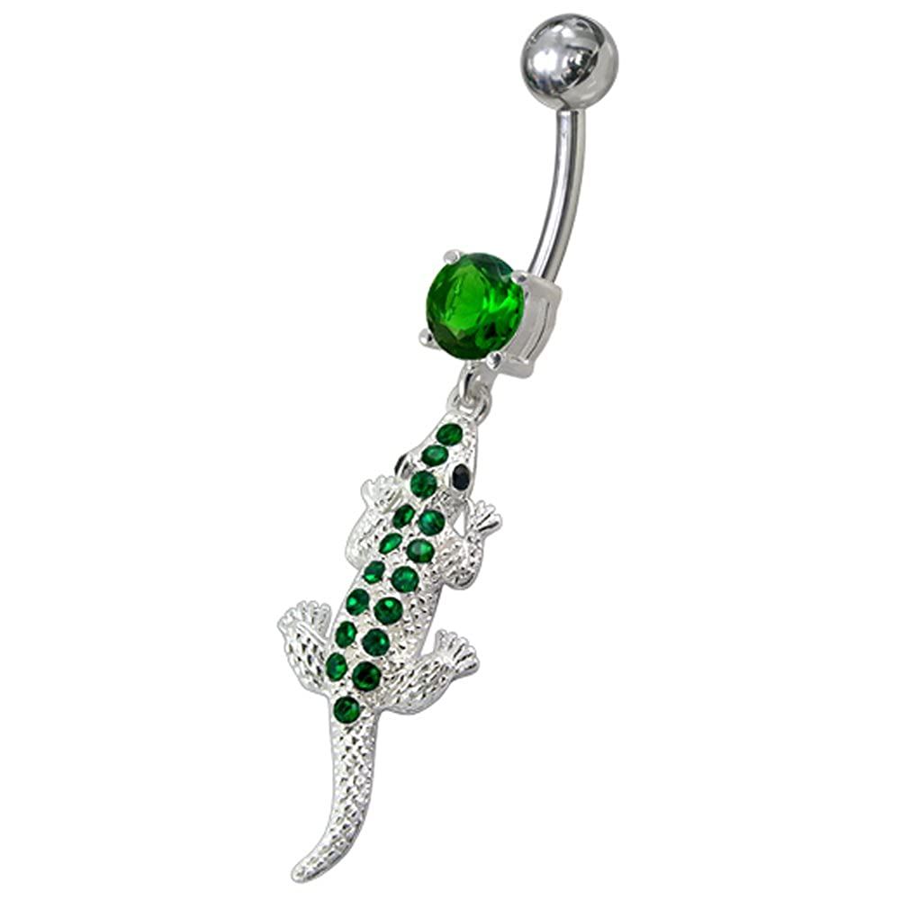 Fancy Lizard Dangling 925 Sterling Silver with Stainless Steel Belly Button Navel Rings PiercingPoint PP-LC9241MBP