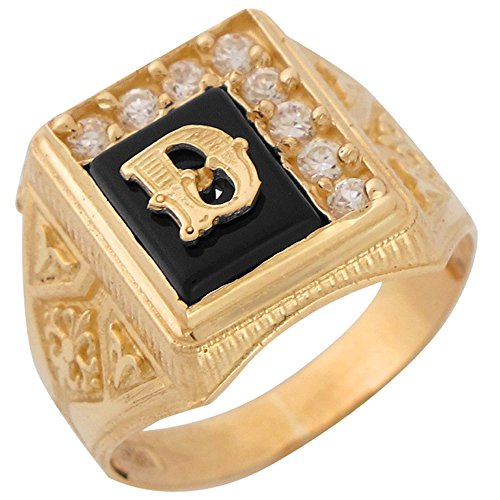 10k Yellow Gold Black Onyx White CZ Accented Mens Classic Letter D Initial Ring