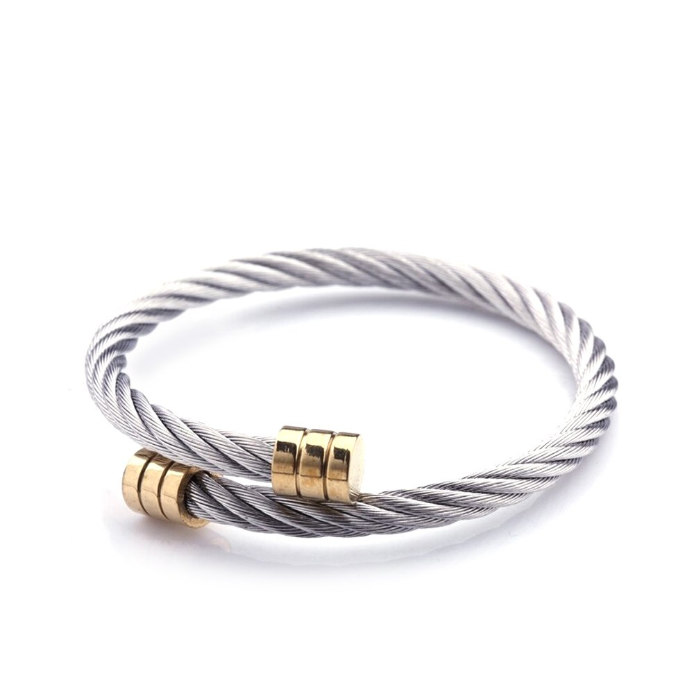 Avery and May Thin Two Tone Simple Minimalist Rope Wrap Cable Wire Bangle Bracelet Cuff, 18K Gold Plated & Silver