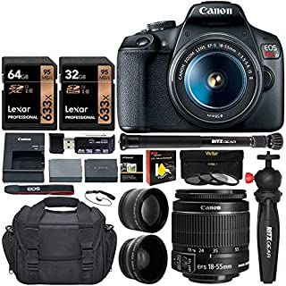 Canon EOS Rebel T7 DSLR Travel Bundle with 58mm 2X Telephoto, Wide Angle Lens + Two Lexar 633x 64GB Video Memory Cards + Compact Monopod + Table Tripod+ Filter Kit + Extra Battery + Padded Camera Bag+