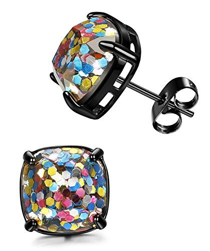 LOYALLOOK Stainless Steel Square Fashion Stud Earrings With Glitter Enamel Stone for Womens and Gilrs 12MM Black Tone