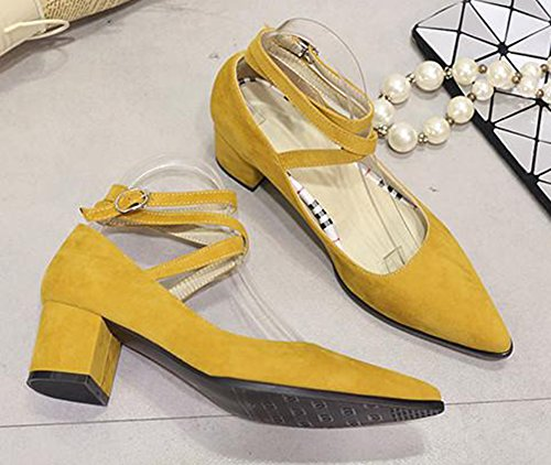 Easemax Womens Trendy Pointed Toe Cross Ankle Strap Pumps Yellow qrP4Qv