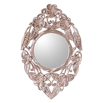 """NOVICA Floral Wood Wall Mounted Mirror, Natural Or White 'Jembrana Frangipani' - Size: 7.5"""" Diam. Authentic: an original NOVICA fair trade product in association with National Geographic. Certified: comes with an official NOVICA Story Card certifying quality & authenticity. - bathroom-mirrors, bathroom-accessories, bathroom - 512Nk0H40XL. SS400  -"""