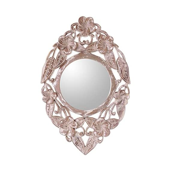 "NOVICA Floral Jembrana Frangipani' Wood Wall Mirror - Size: 7.5"" Diam. Authentic: an original NOVICA fair trade product in association with National Geographic. Certified: comes with an official NOVICA Story Card certifying quality & authenticity. - bathroom-mirrors, bathroom-accessories, bathroom - 512Nk0H40XL. SS570  -"