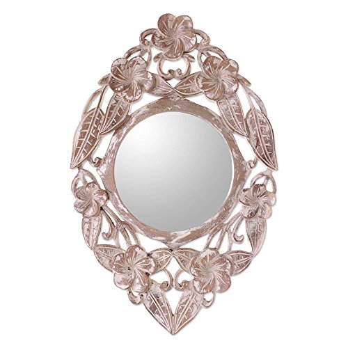 NOVICA Floral Jembrana Frangipani' Wood Wall - Bathroom Mirrors Java