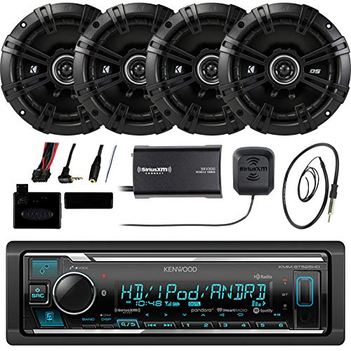 Kenwood KMMBT515HD Marine Boat Bluetooth Stereo Receiver Bundle Combo With  4x Kicker 6 5