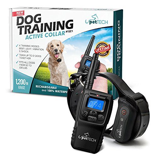 PetTech Remote Controlled Dog Training Collar, Rechargeable and Waterproof, All Size Dogs (10Lbs – 100Lbs), 1200 Foot Range