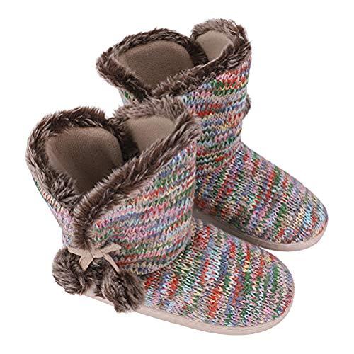 Multi Knit House Socks Plush Winter Boots Womens Indoor Slipper