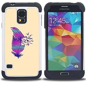 - feather birds abstract deep minimalist - - Doble capa caja de la armadura Defender FOR Samsung Galaxy S5 I9600 G9009 G9008V RetroCandy