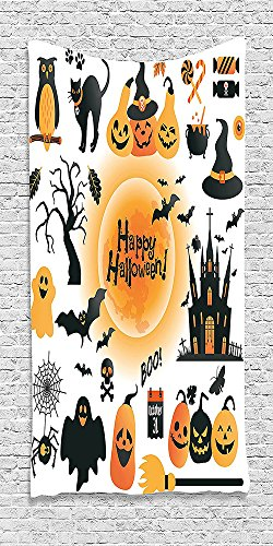 Cotton Microfiber Bathroom Towels Ultra Soft Hotel SPA Beach Pool Bath Towel Halloweenations Pattern of All Hallows Day Objects Haunted House Owl and Trick or Treat Candy Orange (Frozen Trick Or Treat Bucket)