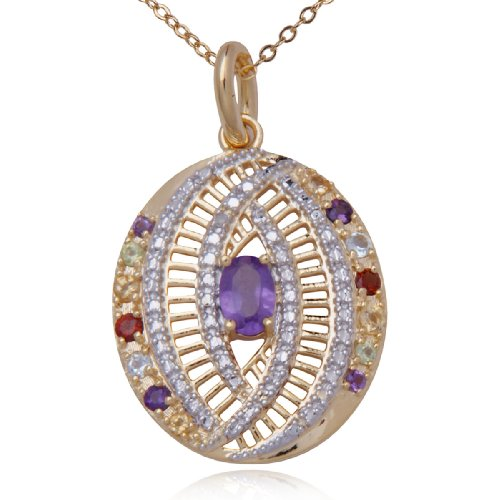 18k Yellow Gold Plated Sterling Silver Multi-Gemstone and Diamond Oval Pendant Necklace , 18""