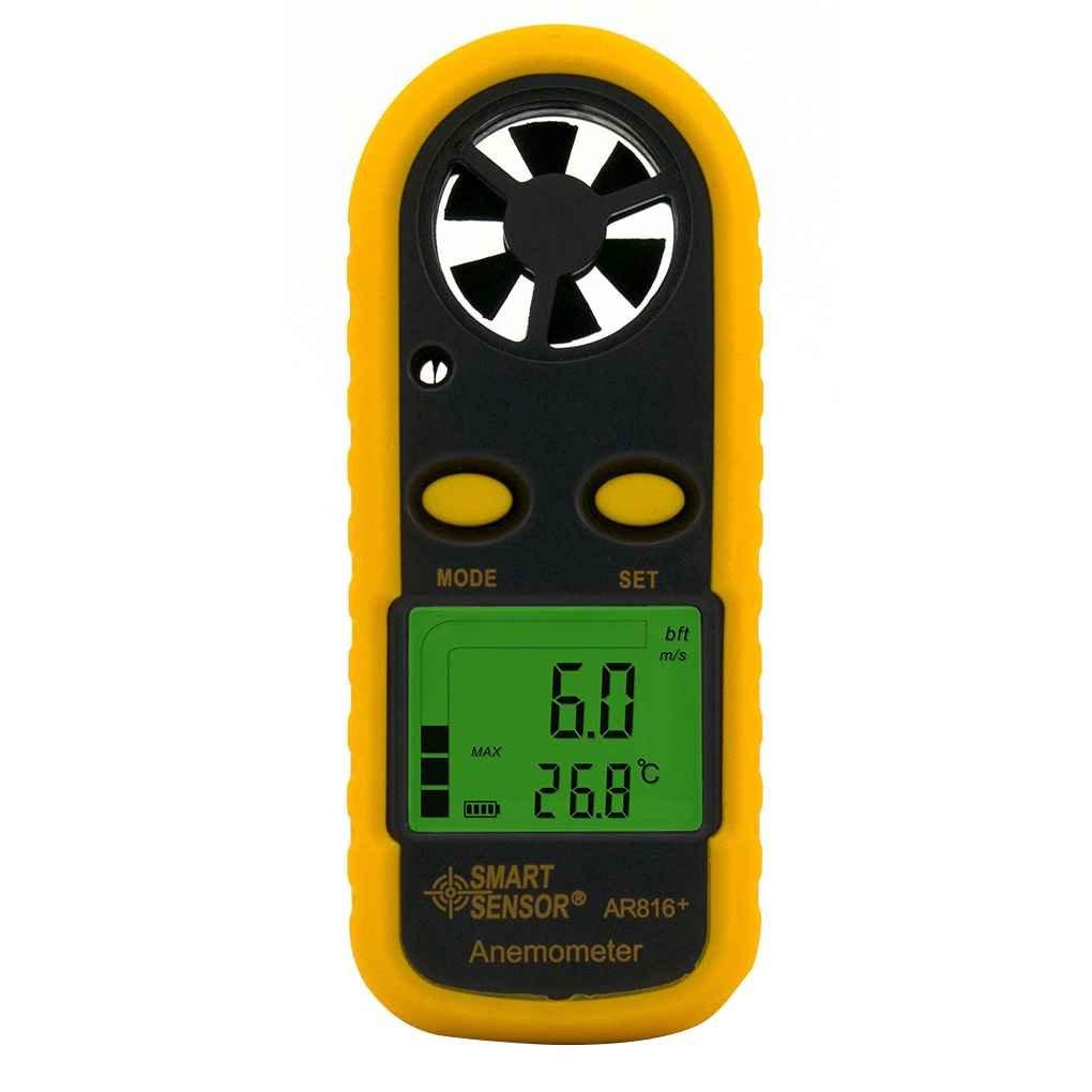 SENSOR ELEGANTE AR816 + Anemómetro Electrónico Termómetro digital de bolsillo velocidad del viento Medidor de flujo de aire del medidor medidor de viento Republe