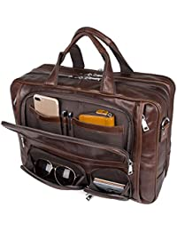 Business Travel Brifecase Genuine Leather Duffel Bags for Men Laptop Bag fits 17 inches Laptop