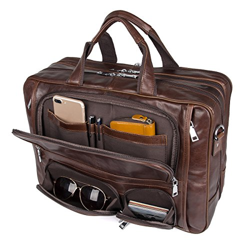 Augus Business Travel Briefcase Genuine Leather Duffel Bags for Men Laptop Bag fits 15.6 inches ()