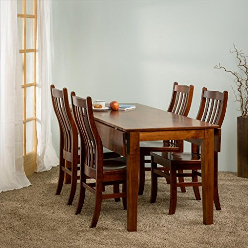 Drop Leaf Rectangle Solid Maple Table and Side Chair Set of 4