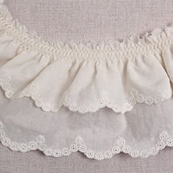 14Yds Embroidery Anglaise cotton eyelet lace trim 3cm white YH1132