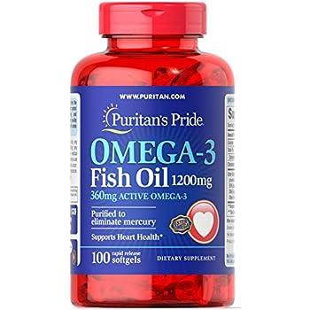 Puritans Pride Omega-3 Fish Oil 1200 mg (360 mg Active Omega-3)-100 Softgels