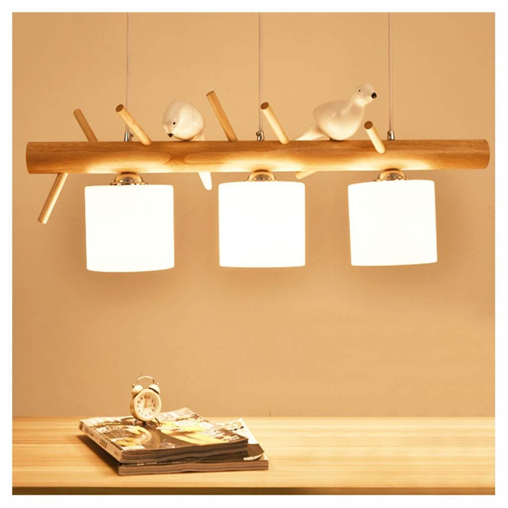 ペンダントライト 3ヘッドペンダント天井吊りランプ照明器具/バードレストランシャンデリア現代ウッドLEDシャンデリア B07NGPQ6HK