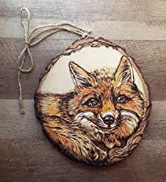 Woodburned Red Fox Art