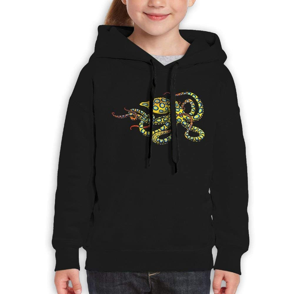 HKhoodies Teen's Sweatshirt Hooded Yellow Ring Octopus Printed for Kids