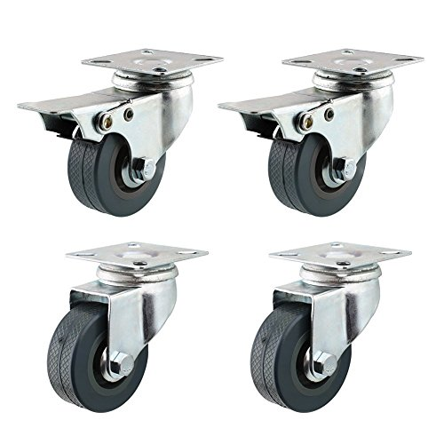 (4 Pack 2-Inch 200-Pound Swivel Lock Brake Polyurethane Plate Caster Wheel)