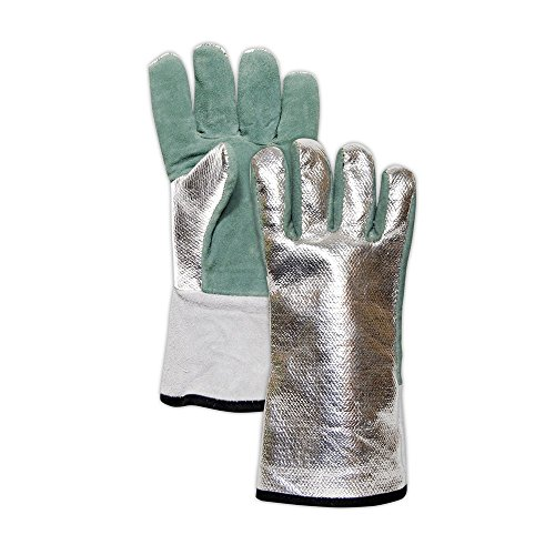 Magid Glove & Safety DJXG1575 WeldPro Aluminized Carbon Kevlar/Leather Welding Gloves, Large, Green