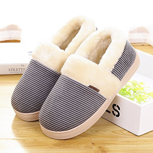 Inverno fankou striature interne coppie pacchetto radice scarpe di cotone di donne home caldo antiscivolo pantofole di cotone uomini e ,44/45, grigio