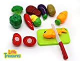 Little Treasures Kitchen Kids Play Cutting Fruits and Vegies Fish and Meat Toy Set, Pretend Food Playset  Fruit Pieces to be Sliced Up with Knife and Cutting Board, Multicolored, 12 Piece