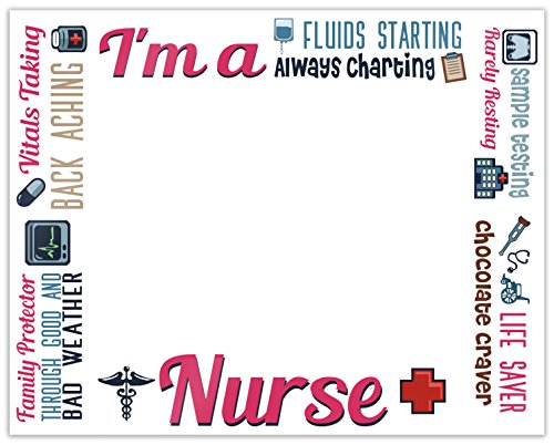 Nurse Gifts I'm a Nurse Poem Funny Nurse Frame RN CAN White Plastic 5x7 Landscape Picture Frame (License Plate Picture Frame compare prices)