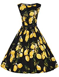 Women's 1950s Summer Floral Sleeveless Cotton Retro Vintage Swing Party Dress