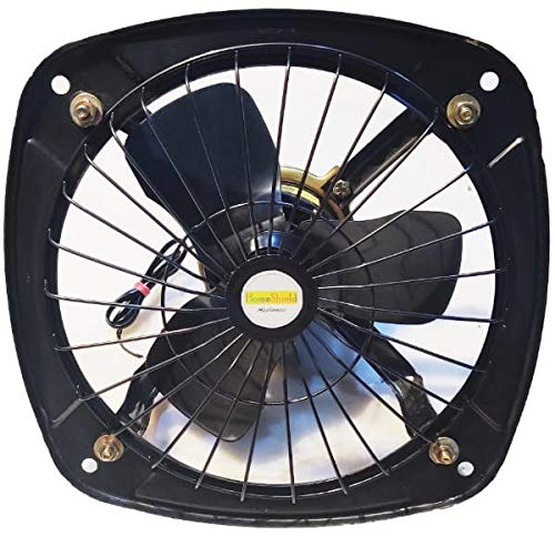 Homeshield AIRCON || Fresh Air EXHAUST FAN || 225 mm (9 inch Metal Blade) || Outer Metal Frame Size(12 inch) || 1 Year Warranty || Safety Grid || High Speed || Copper Winding || Kitchen || Bathroom || Office || Store || Dark Metallic Grey Colour