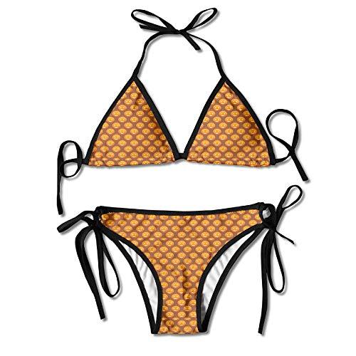 Free Halloween Pumpkins Pattern Women's Sexy Bikini Set Swimsuit Bathing Suit Halterneck Triangle Swimwear