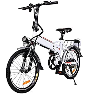 20″ Folding Electric Bike with Removable Large Capacity Lithium-Ion Battery (36V 250W), Electric Bicycle 7 Speed Gear and Three Working Modes (White, 20 inch)