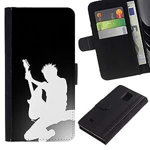 // PHONE CASE GIFT // Moda Estuche Funda de Cuero Billetera Tarjeta de crédito dinero bolsa Cubierta de proteccion Caso Samsung Galaxy Note 4 IV / Guitar Silhouette /