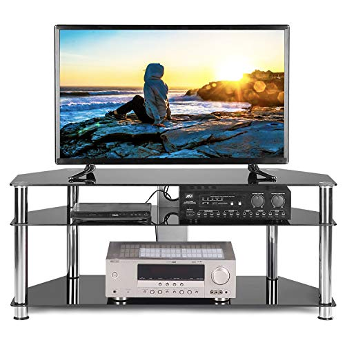 TAVR Black Tempered Glass Corner TV Stand Cable Management Suit for up to 60 inch LCD, LED OLED or Curved Screen TVs,Chrome Legs TS2003 ()