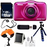 Nikon COOLPIX S33 Digital Camera (Pink) International Model + 16GB Card + Floating Strap + 12-Inch Flexible Tripod + USB Reader + Cap Keeper Review